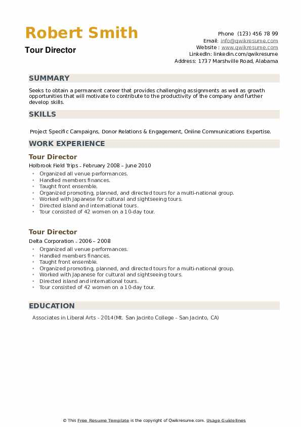 Tour Director Resume example