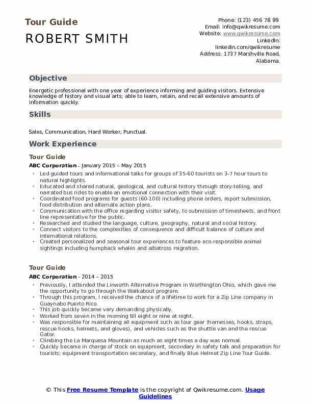 Tour guide sample resume sap ehs resume