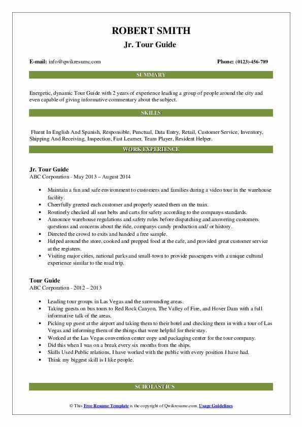 Jr. Tour Guide  Resume Sample