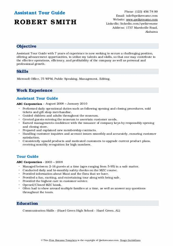 Assistant Tour Guide Resume Model