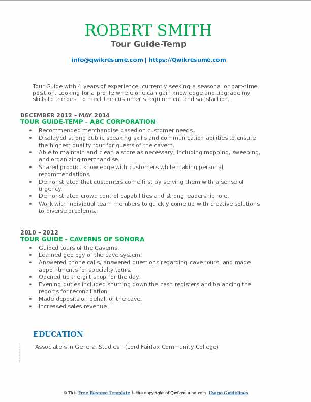 Tour Guide-Temp Resume Example