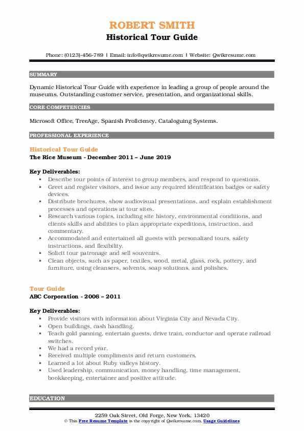 Historical Tour Guide Resume Template
