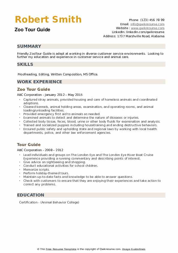 Zoo Tour Guide Resume Example
