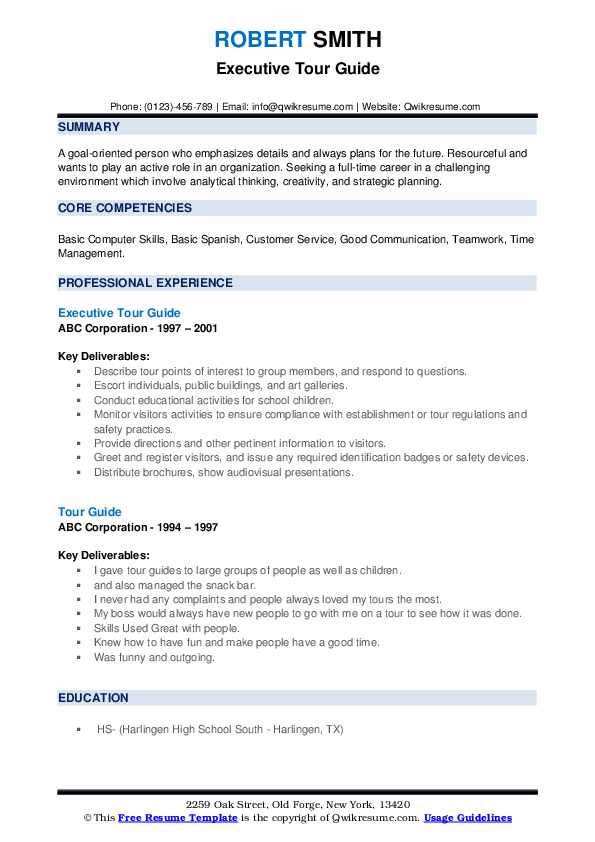 Tour guide sample resume theatre arts extended essay