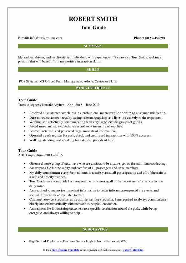 Tour Guide Resume example