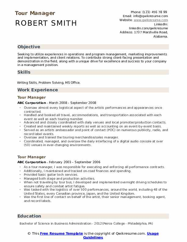 Tour Manager Resume example