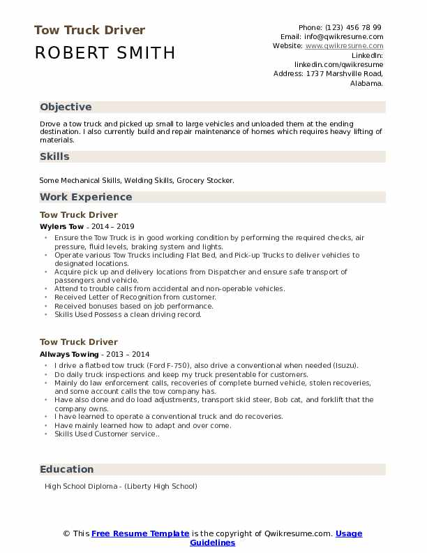 Tow Truck Driver Resume Samples Qwikresume