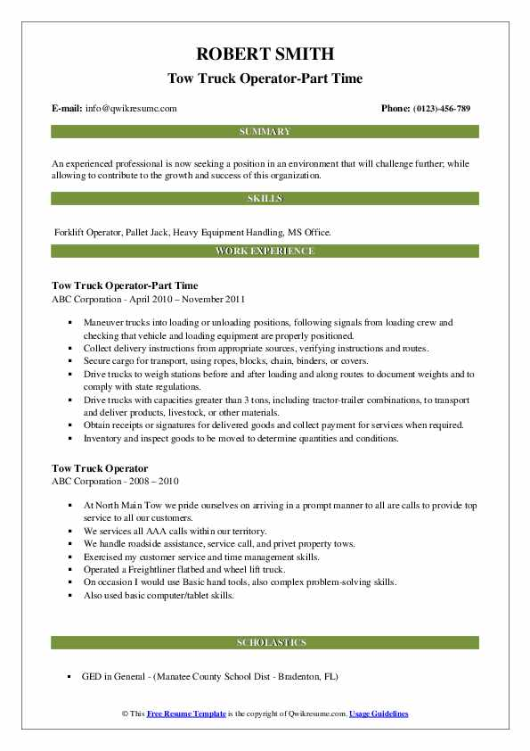 Tow Truck Operator-Part Time Resume Model