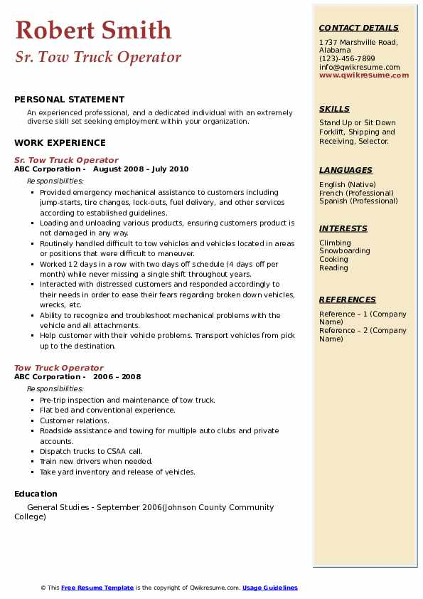 Sr. Tow Truck Operator Resume Format