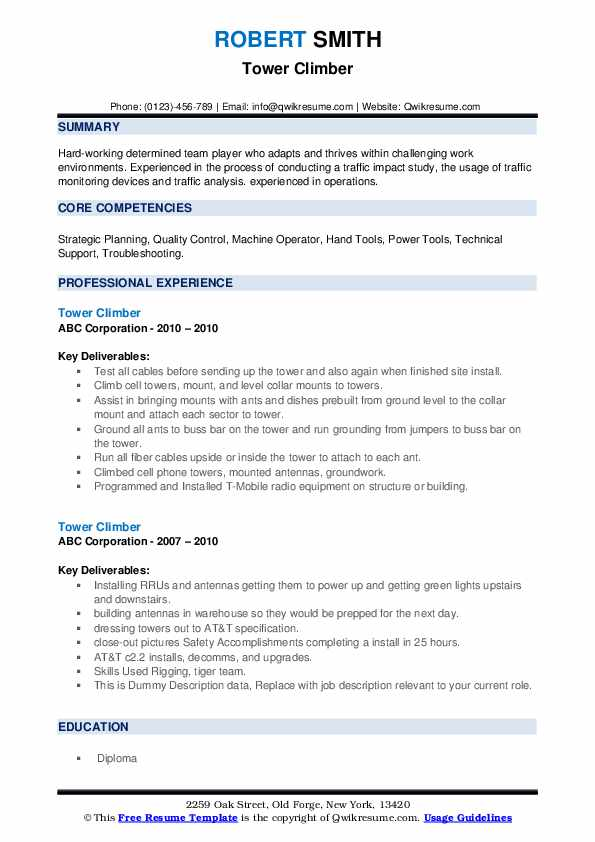 Tower Climber Resume example