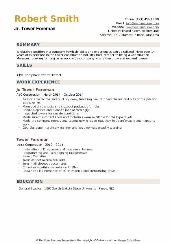 Tower Foreman Resume example