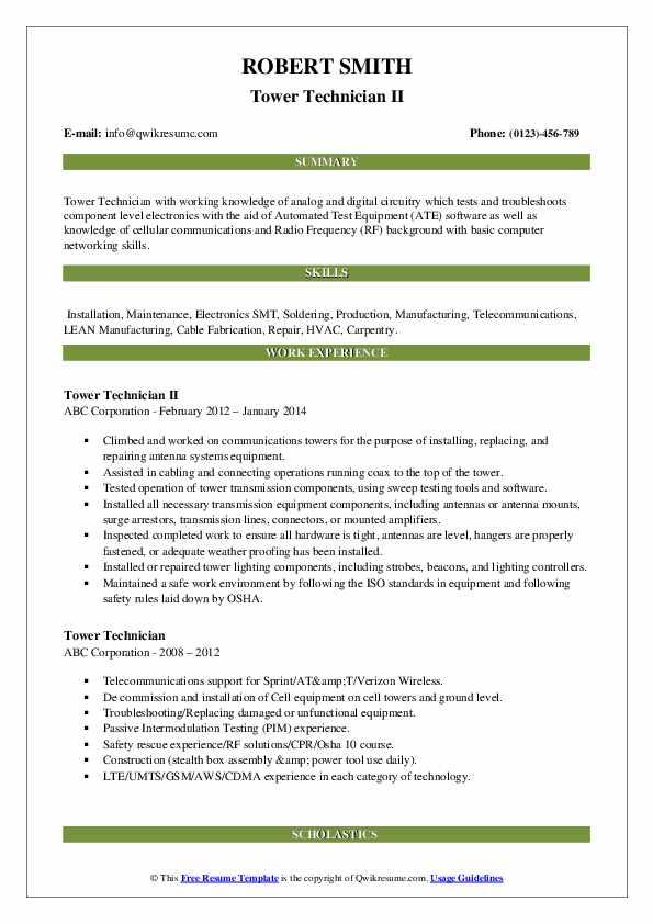 Tower Technician II Resume Format