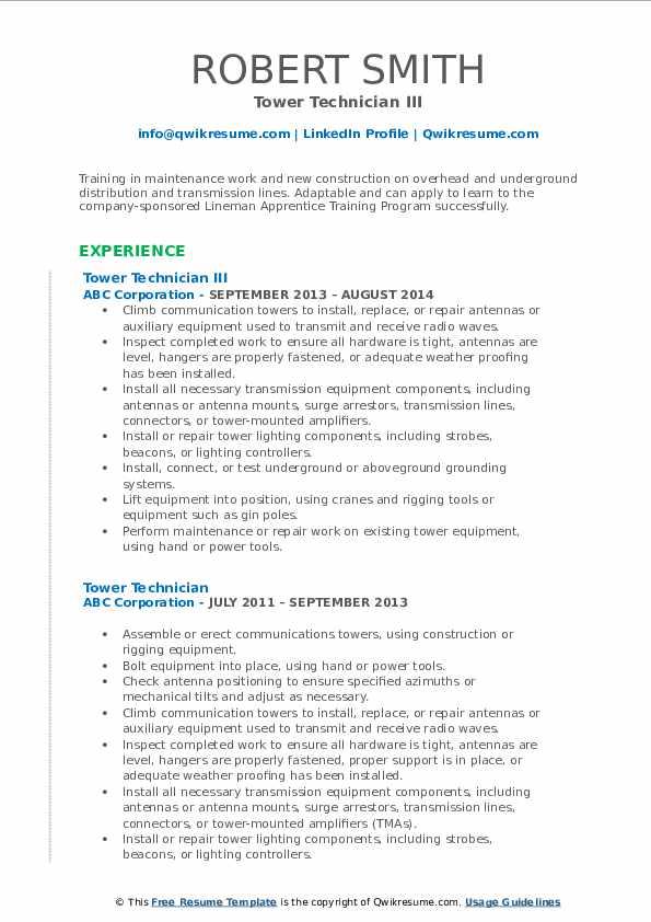 Tower Technician III Resume Format