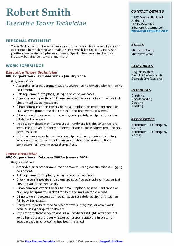 Executive Tower Technician Resume Model
