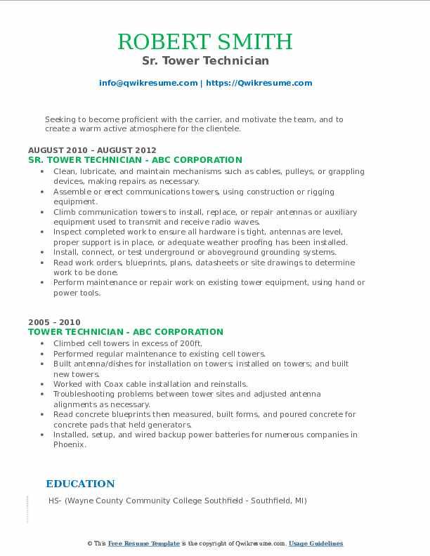 Sr. Tower Technician Resume Format
