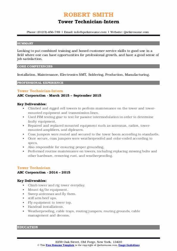 Tower Technician-Intern Resume Example