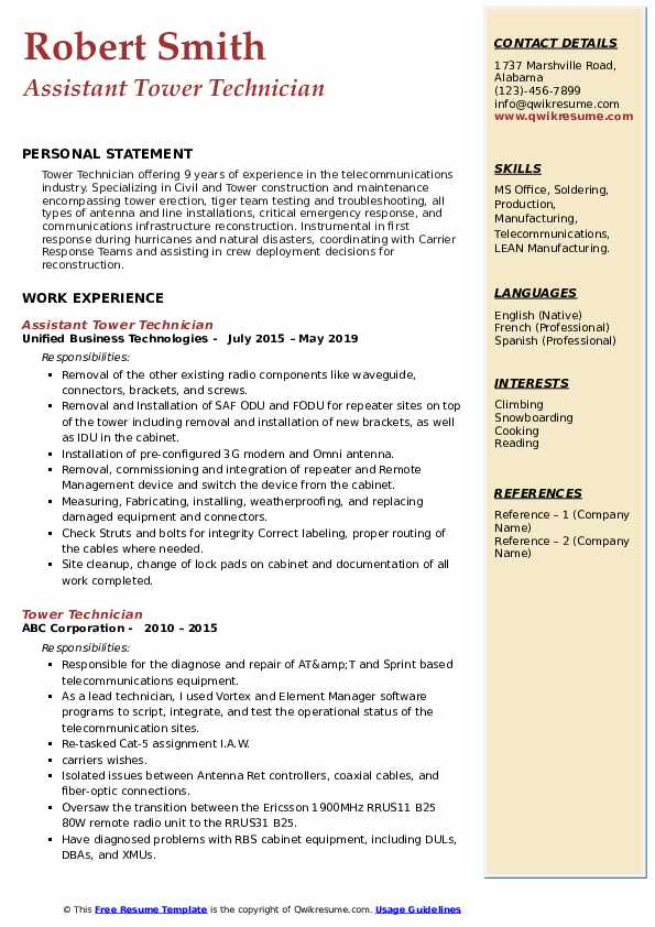 Assistant Tower Technician Resume Template