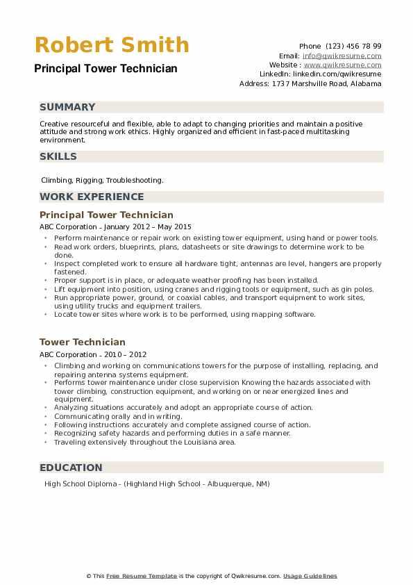 Principal Tower Technician Resume Format