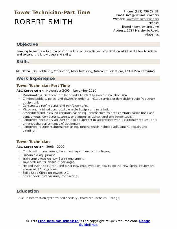 Tower Technician-Part Time Resume Sample