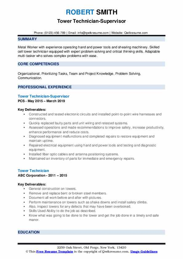 Tower Technician-Supervisor Resume Format