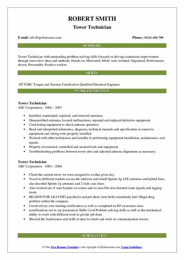 Tower Technician Resume example