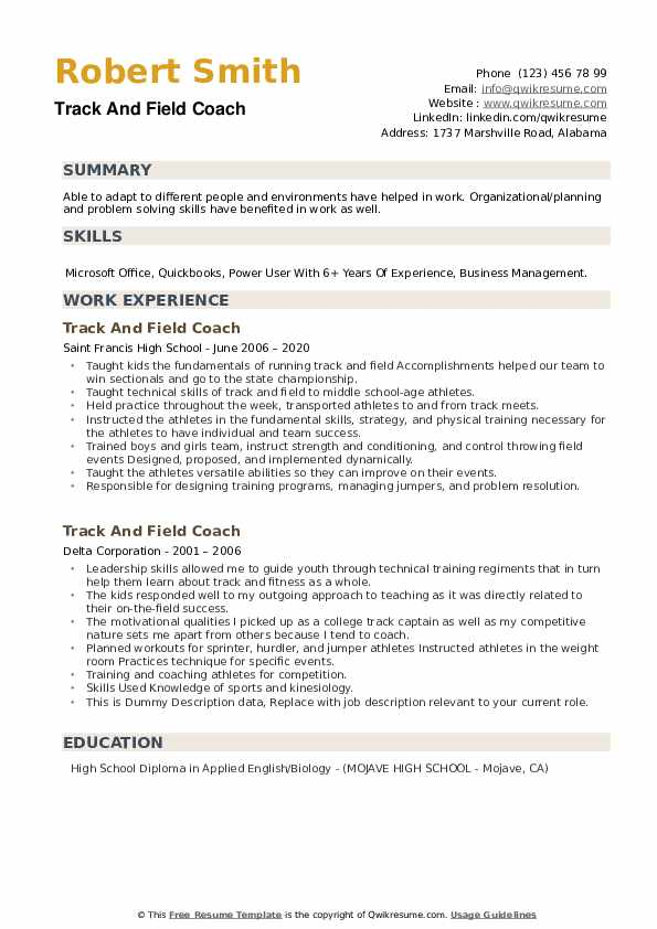 Track And Field Coach Resume example