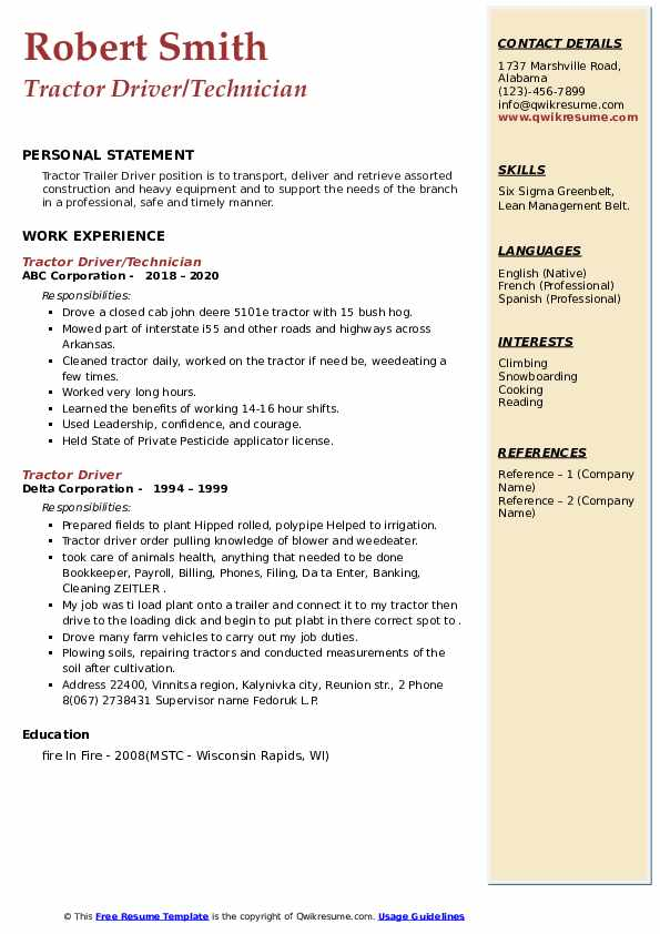 Tractor Driver Resume example