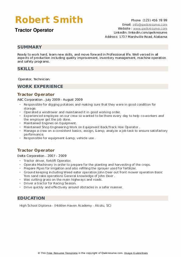 Tractor Operator Resume example