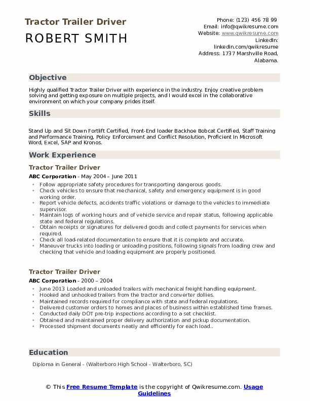 Tractor Trailer Driver Resume Template