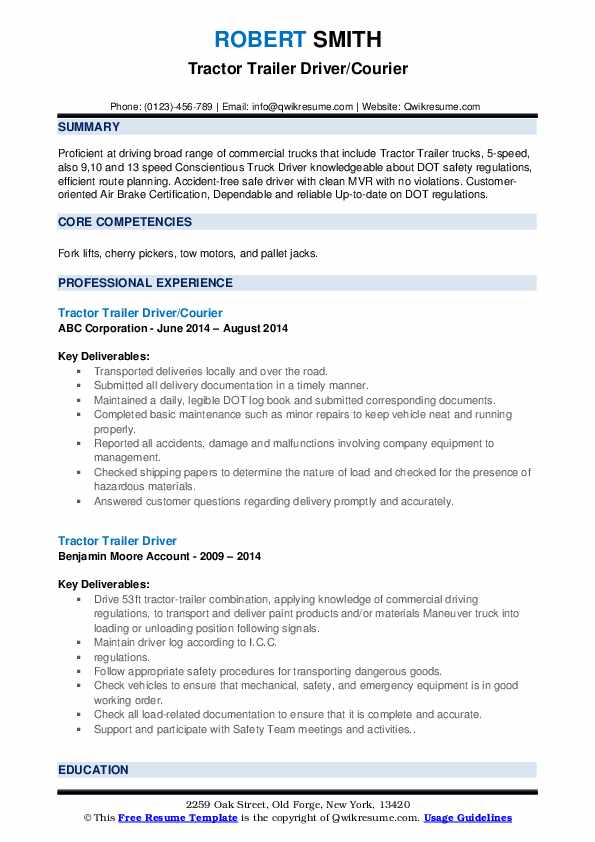 Tractor Trailer Driver/Courier Resume Sample