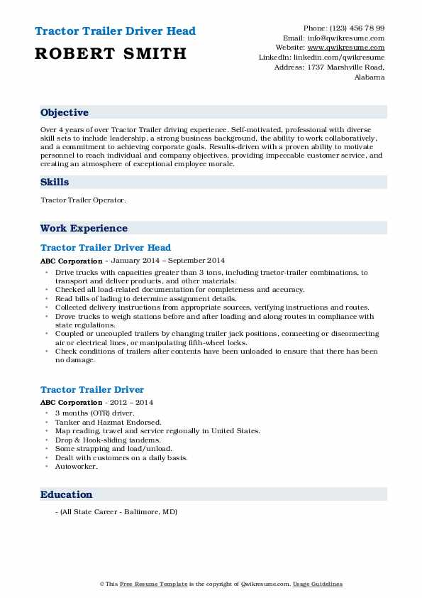 Tractor Trailer Driver Head Resume Format