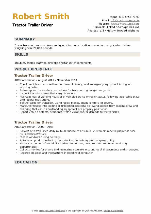 Tractor Trailer Driver Resume example