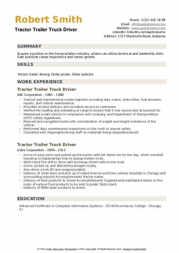 Tractor Trailer Truck Driver Resume example