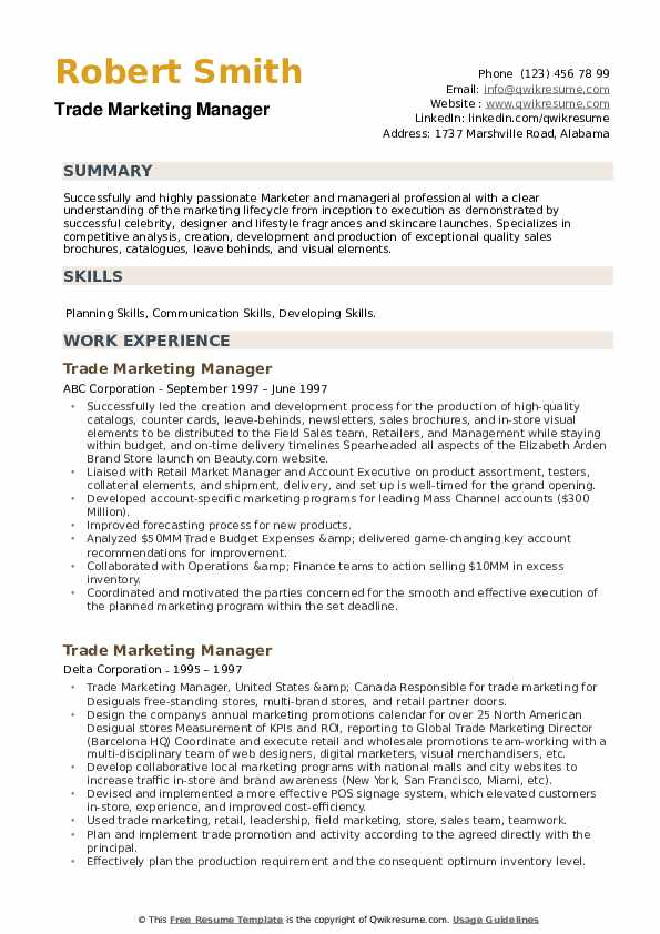 Trade Marketing Manager Resume example