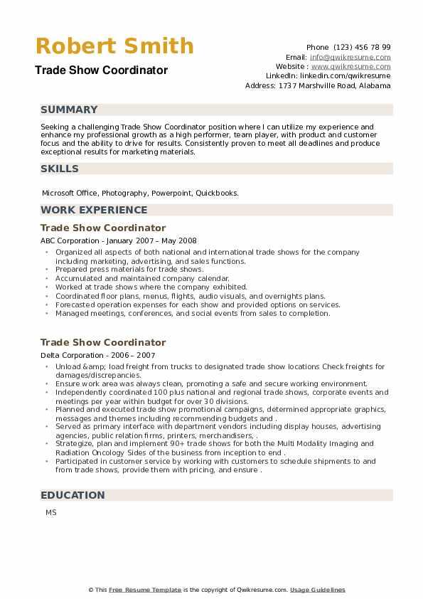 Trade Show Coordinator Resume example