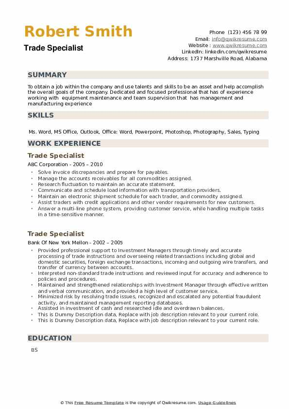 Trade Specialist Resume example