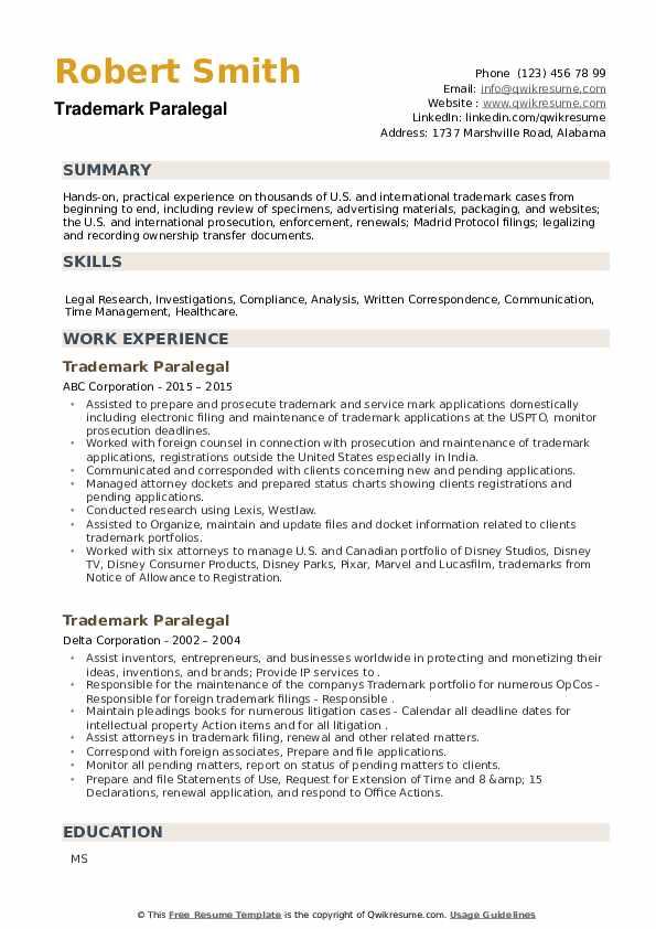 Trademark Paralegal Resume example
