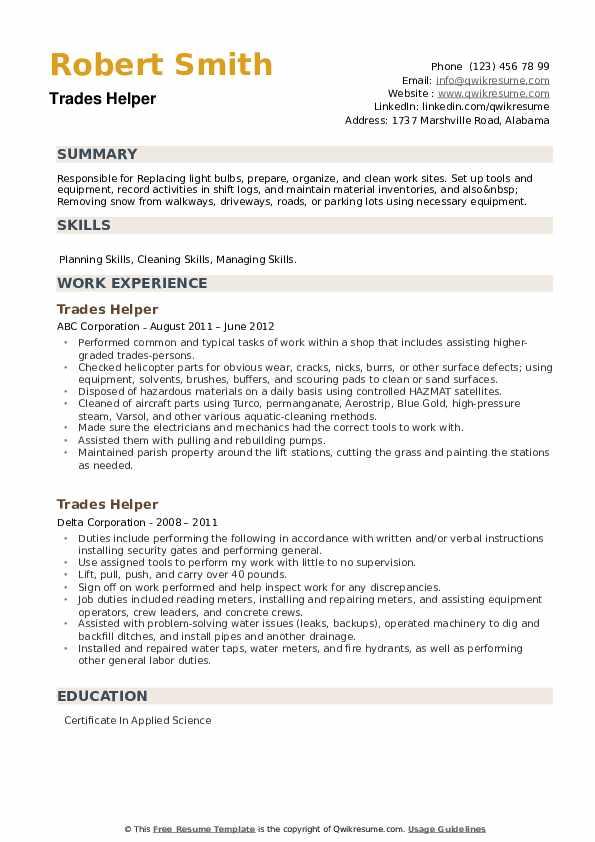 Trades Helper Resume example