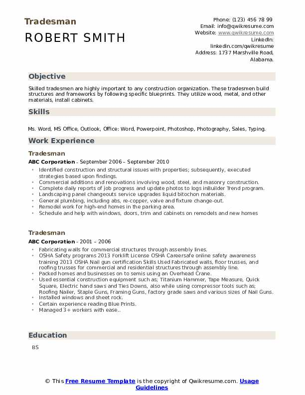 tradesman resume samples  qwikresume