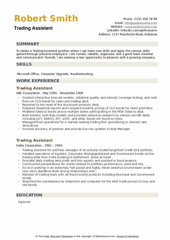 Trading Assistant Resume example