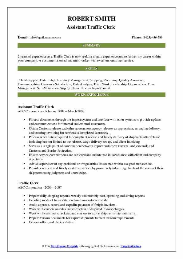 Assistant Traffic Clerk  Resume Format