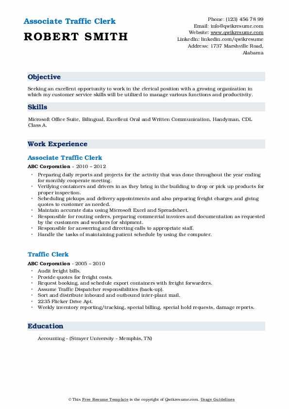 Associate Traffic Clerk Resume Format