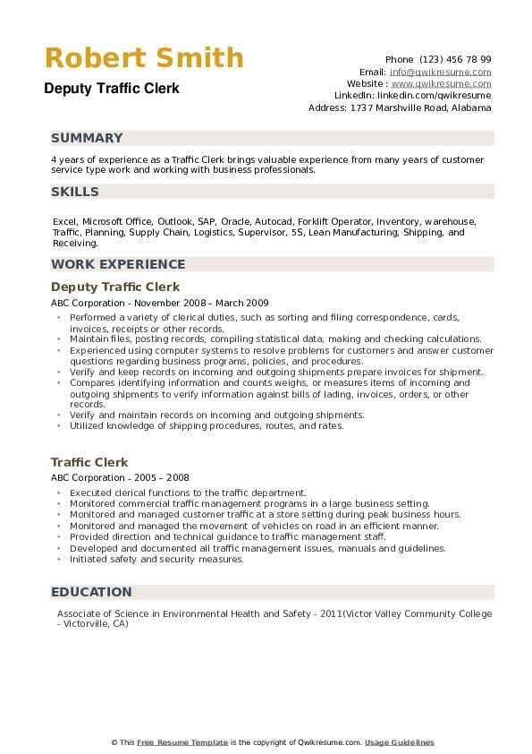 Deputy Traffic Clerk Resume Sample