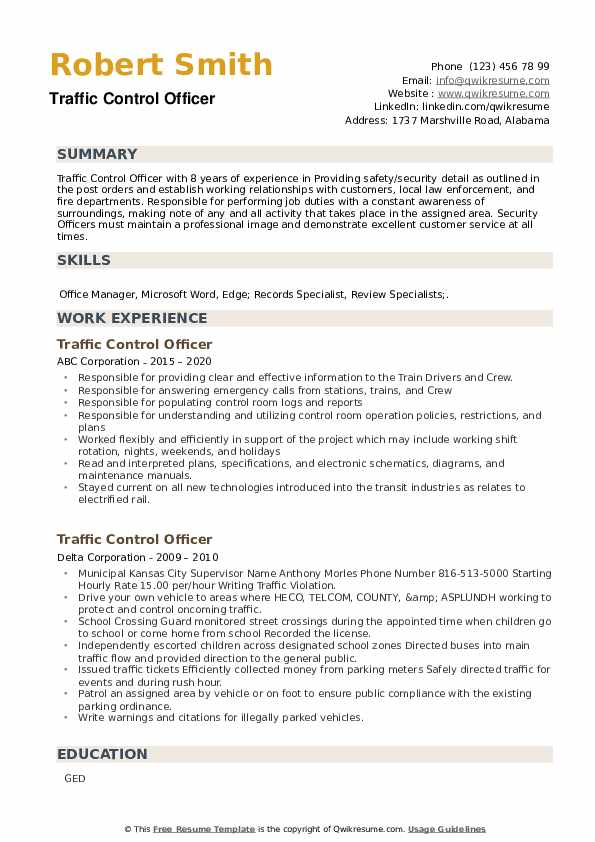 Traffic Control Officer Resume example