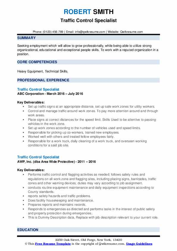 Traffic Control Specialist Resume example