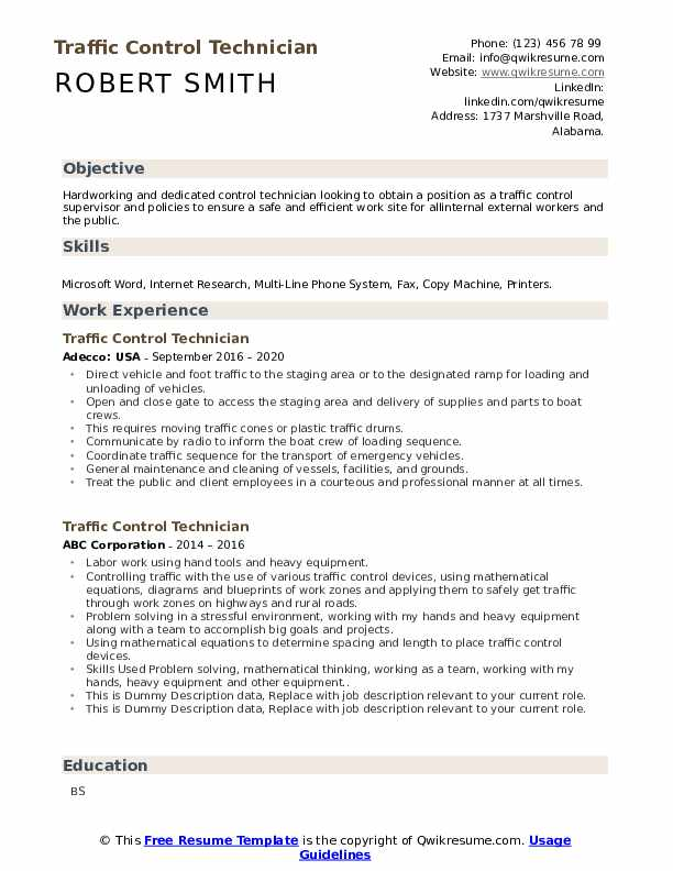 Traffic Control Technician Resume example