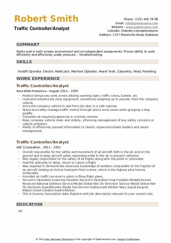 Traffic Controller Resume example