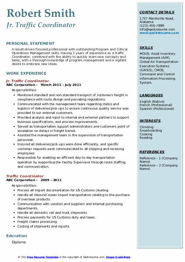 Traffic Coordinator Resume Samples | QwikResume