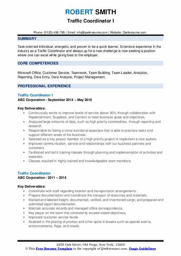 Traffic Coordinator I Resume Format
