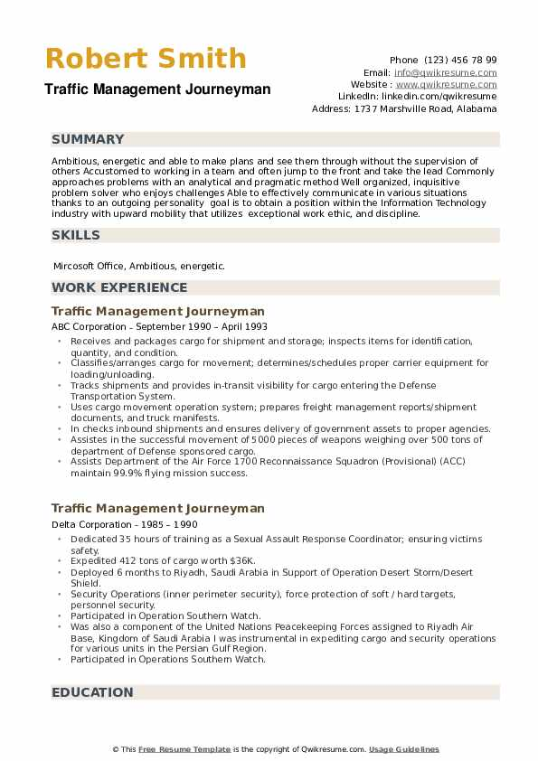 Traffic Management Journeyman Resume example